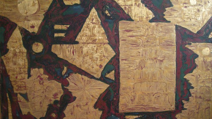 Enrico Cervelli - Composizione astratta Rosso e Oro